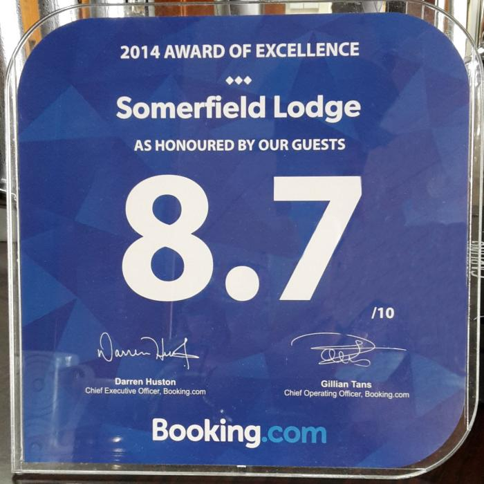 Image for Booking.com award for Somerfield Lodge